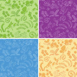 vector floral seamless backgrounds with nature - set Stock Images