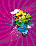 Color flower and butterfly illustration Royalty Free Stock Images