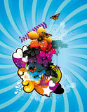 Color flower and butterfly illustration Royalty Free Stock Photos