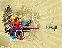 Color flower and wing illustration Royalty Free Stock Photos