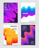 Color fluid dynamic shapes. Cool vector abstract backgrounds set. Booklet and catalog page, with smooth dynamic gradient illustration Stock Photos