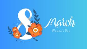 8 march Happy. Women`s Day. Color flyer for March 8 with the decor of paper cut flowers.Happy Women`s Day Royalty Free Stock Image
