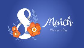 8 march Happy. Women`s Day. Color flyer for March 8 with the decor of paper cut flowers.Happy Women`s Day vector illustration