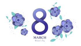 8 march Happy. Women`s Day.. Color flyer for March 8 with the decor of paper cut flowers. Happy Women`s Day stock illustration