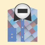 Color folded shirt with badge design concept Royalty Free Stock Images