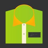Color folded shirt with badge design concept Royalty Free Stock Photography