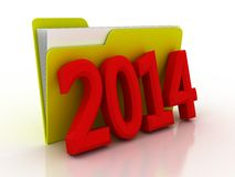 Color  folder 2014. File 3D Royalty Free Stock Image