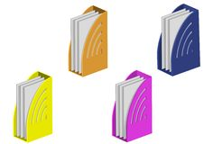 Color folders with paper Stock Images