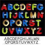 Color font alphabet with eyes Stock Photography