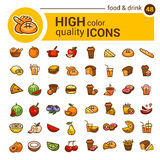 Color food icons set Royalty Free Stock Photos