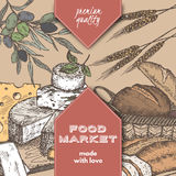 Color food market label with bread, cheese, olives. Color food market label template with hand drawn sketch of bread basket, cheese plate, wheat and olive branch Royalty Free Stock Images