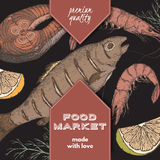 Color food market label with grilled fish, fish steak and shrimps. Colro food market label template with hand drawn sketch of grilled fish, fish steak and Stock Images