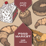 Color food market label with pie, cake, doughnut and croissant. Stock Photography
