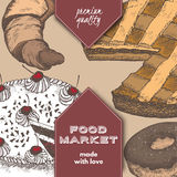 Color food market label with pie, cake, doughnut and croissant. Royalty Free Stock Images
