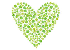 Color four leaf clovers heart Royalty Free Stock Image