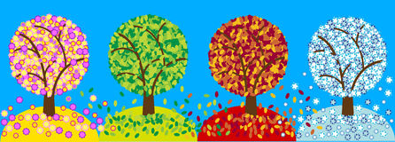 Color four seasons trees Stock Photography