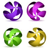 Color four striped spheres. Royalty Free Stock Photography