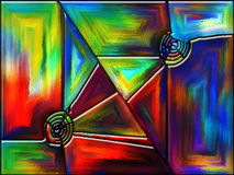 Color Fracture. Geometry of Color series. Composition of colorful stained glass pattern with metaphorical relationship to imagination, creativity and art Stock Photos