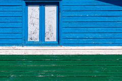 Color fragment old house wooden wall and window Stock Photography