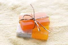Color fragrant soap. spa concept background. Color fragrant soap. relaxing spa concept background Royalty Free Stock Photo