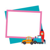 Color frame with border with baby toys Stock Image