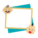 Color frame with border with babys faces. Vector illustration Stock Photos