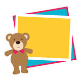 Color frame with border with teddy bear. Vector illustration Royalty Free Stock Image