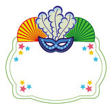 Color frame with carnival masks. Raster clip art. Stock Images