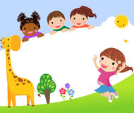 Color frame with group of kids and giraffe,background. Royalty Free Stock Image