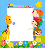 Color frame with group of kids and giraffe,background. Stock Image