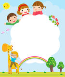 Color frame with group of kids and giraffe,background. Stock Images
