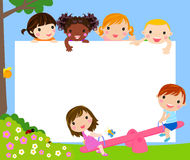 Color frame with group of kids Royalty Free Stock Photo