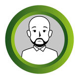 Color frame with monochrome contour of half body bald man with beard Royalty Free Stock Photos