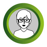 Color frame with monochrome contour of half body woman with short hair and glasses Stock Image