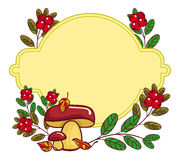 Color frame with mushrooms and cranberries. Autumn forest background. Raster clip art Royalty Free Stock Photography