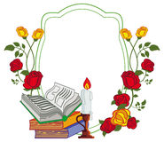 Color frame with red roses, books and lighted candle. Stock Images