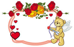 Color frame with roses and teddy bear with bow and wings, looks Royalty Free Stock Images
