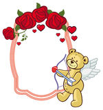 Color frame with roses and teddy bear with bow and wings, looks Royalty Free Stock Photo
