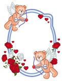Color frame with roses and teddy bear with bow and wings, looks like a Cupid. Stock Photo