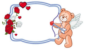 Color frame with roses and teddy bear with bow and wings, looks like a Cupid. Royalty Free Stock Photography