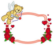 Color frame with roses and teddy bear with bow and wings, looks like a Cupid. Stock Photos
