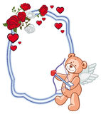 Color frame with roses and teddy bear with bow and wings, looks like a Cupid. Copy space. Raster clip art Royalty Free Stock Photo