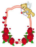 Color frame with roses and teddy bear with bow and wings, looks like a Cupid. Copy space. Raster clip art Royalty Free Stock Images