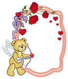 Color frame with roses and teddy bear with bow and wings, looks like a Cupid. Copy space. Raster clip art Stock Photo