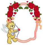 Color frame with roses and teddy bear with bow and wings, looks. Like a Cupid. Copy space. Raster clip art Royalty Free Stock Photography