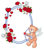 Color frame with roses and teddy bear with bow and wings, looks. Like a Cupid. Copy space. Raster clip art Stock Images