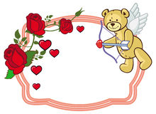 Color frame with roses and teddy bear with bow and wings, looks. Like a Cupid. Copy space. Raster clip art Stock Photo