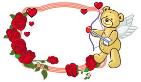 Color frame with roses and teddy bear with bow and wings, looks like a Cupid. Copy space. Raster clip art Stock Photos