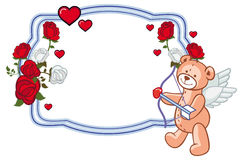 Color frame with roses and teddy bear with bow and wings, looks like a Cupid. Copy space. Raster clip art Royalty Free Stock Photography