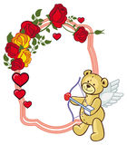 Color frame with roses and teddy bear with bow and wings, looks. Like a Cupid. Copy space. Raster clip art Stock Photos